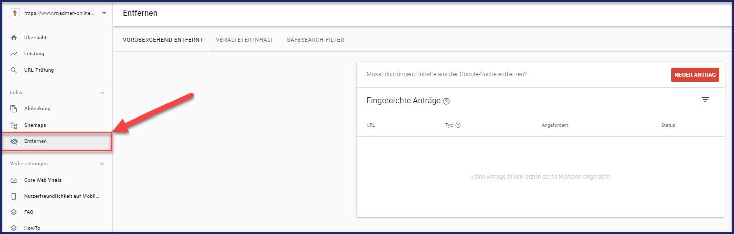 Tool zum Entfernen von URLs in der Google Search Console