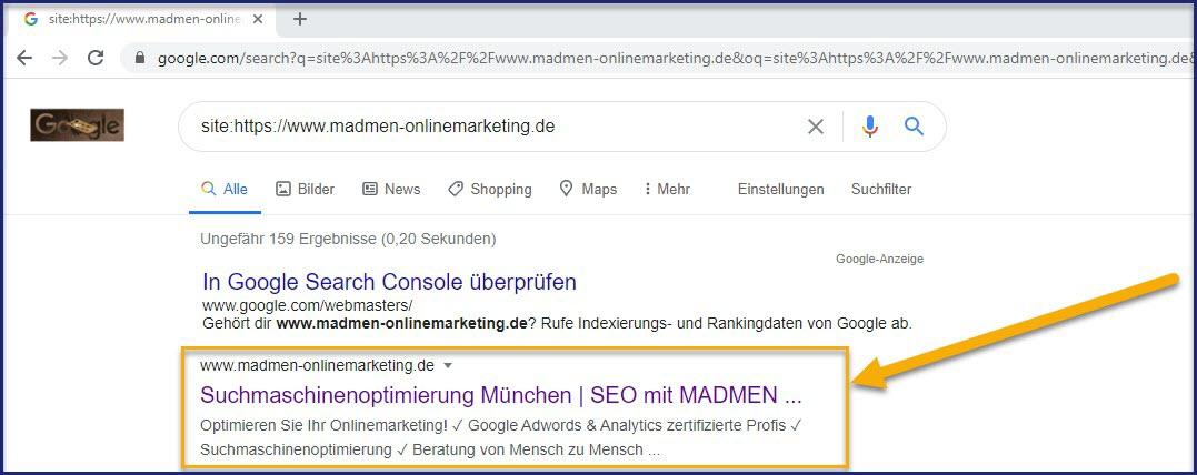 Website im Google-Index