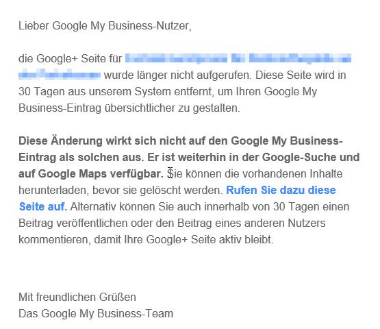 Entfernung der Google+ Seiten durch Google My Business Mail Screenshot