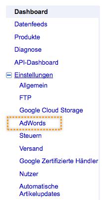 Google Merchant Center AdWords Verknüpfung