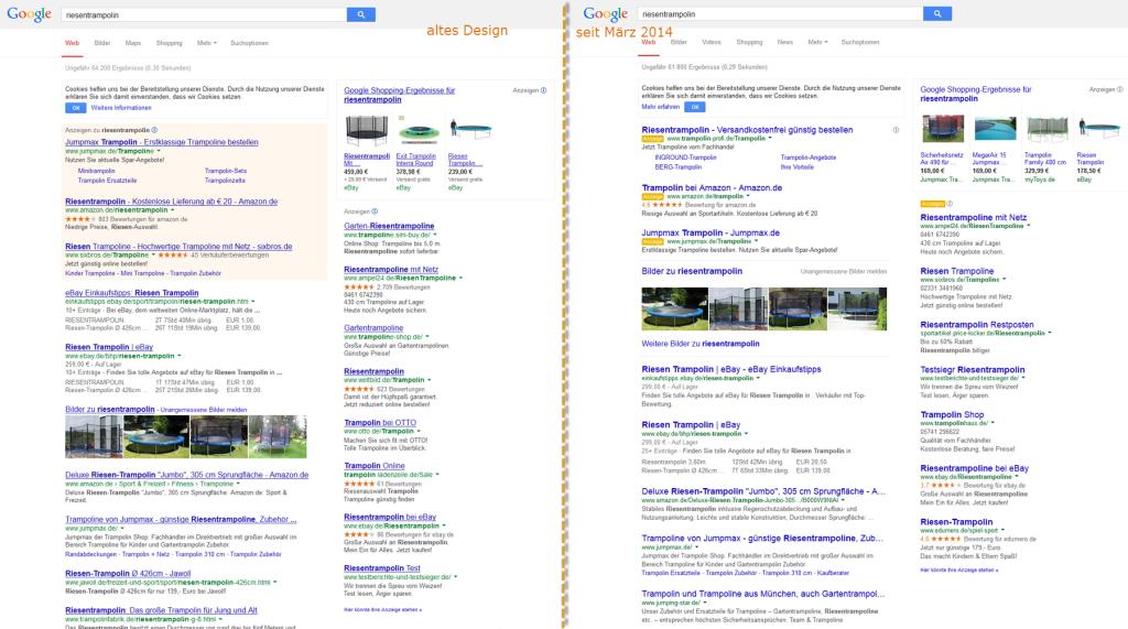 Neues Google Design für Suchergebnisseite im Vergleich