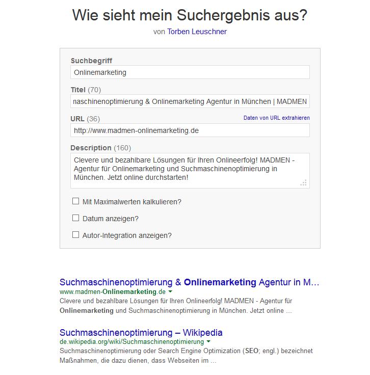 Testtool für neue Google-Snippets