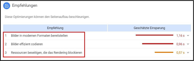 Google Empfehlungen zur Pagespeed Optimierung